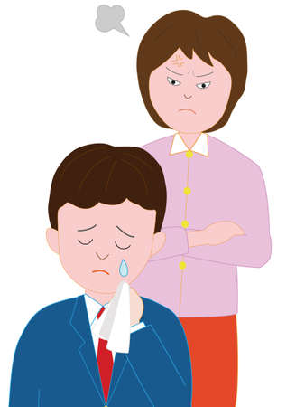 Her mother scolds his sons high school boys Illustration