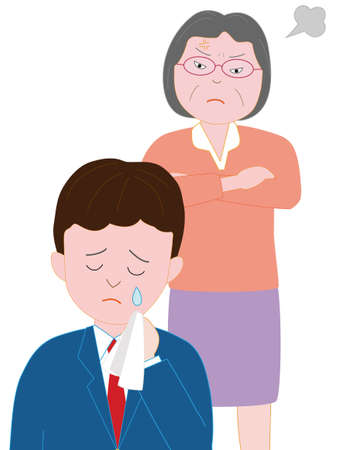 A male high school student son scolding grandmother Illustration