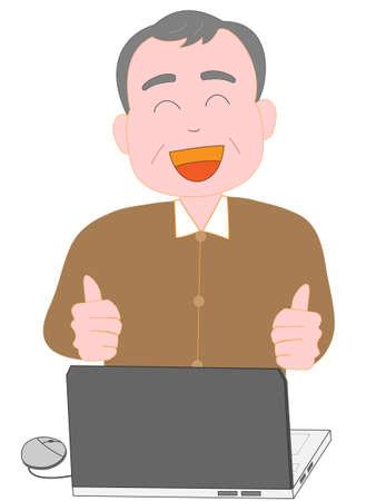 Seniors enjoy the computer Illustration