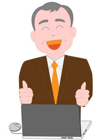 Mit einem Computer bei der Arbeit für den älteren Geschäftsmann