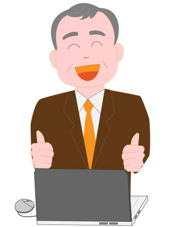 Using a computer at work for the elderly businessman Illustration