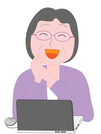 Business woman using work computers for the elderly Illustration