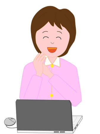 comfort classroom: Business woman to work on the computer Illustration