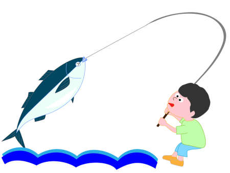 takings: The boy caught a big fish Illustration