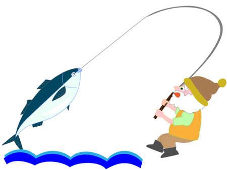 年配の男性が大きな魚を釣った