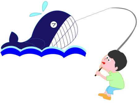少年は、クジラをキャッチ  イラスト・ベクター素材