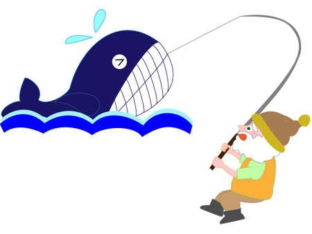 クジラが釣れた  イラスト・ベクター素材