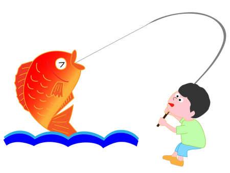 少年は、大きな真鯛をキャッチ