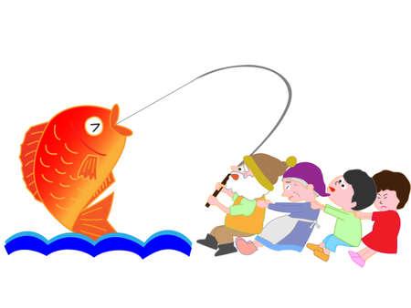 漁師キャッチの大きな鯛の子供たちを助ける