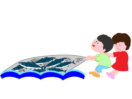 Kids net fishing Illustration