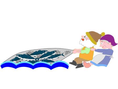 nursery tale: Net fishing fisherman couple