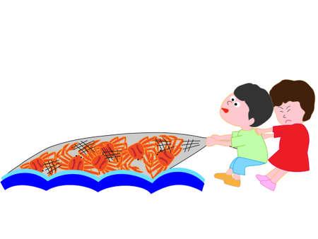 Kids crab fishing  イラスト・ベクター素材