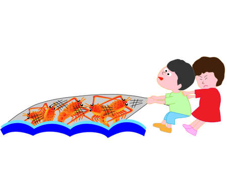 Children to catch shrimp