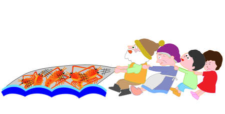 Shrimp fishing to help children. Illustration