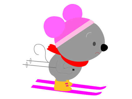 Skiing in rats Illustration