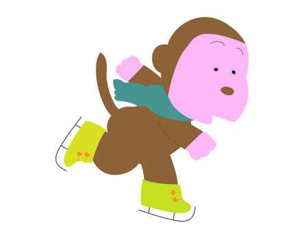 スケートの猿