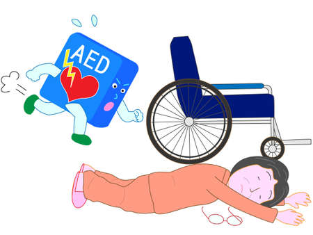 fall arrest: AED goes to save fallen elderly Illustration