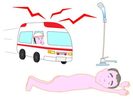 Voor ouderen is gedaald in de badkamer een ambulance kwam. Stock Illustratie