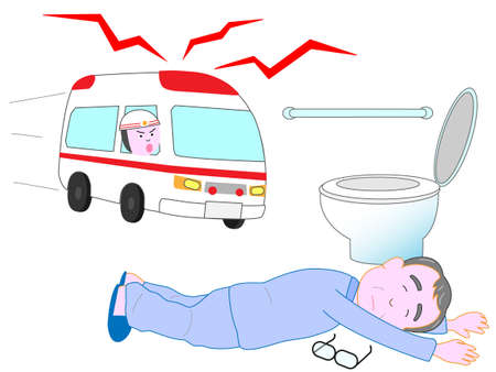 fall arrest: Lying for the elderly in the toilet. An ambulance came. Illustration