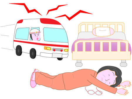 The elderly lying in bed. An ambulance came.