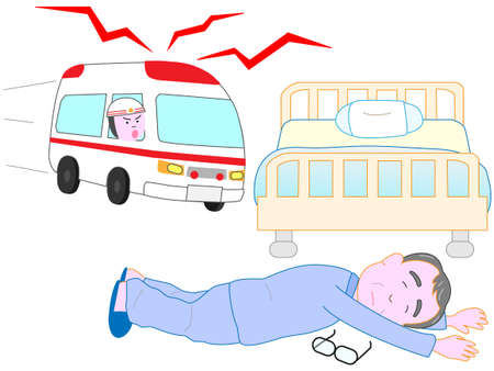 fall arrest: The elderly lying in bed. An ambulance came.