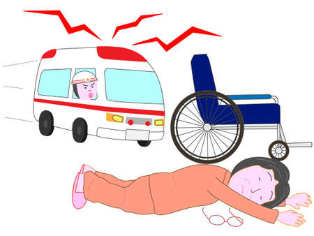 came: Lying for the elderly by the wheelchair. An ambulance came.