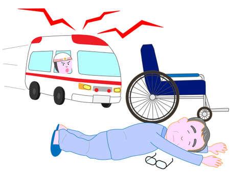 Lying for the elderly by the wheelchair. An ambulance came.