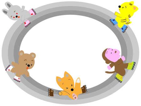 dog school: Animals that enjoy roller skating title frame.