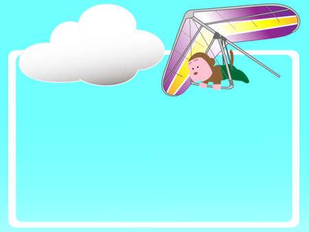 Hang gliding title frame Illustration