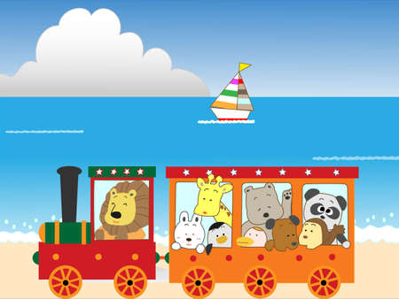 cruising: Animals are travelling by train coast.