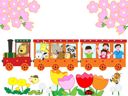 Family train trip in the spring.