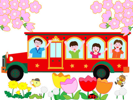 Spring trip with family Illustration