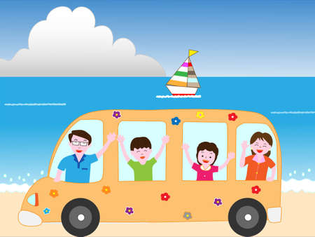 Familie bij het strand bus reizen Stock Illustratie