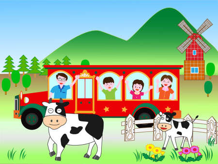 Bus travel with family 向量圖像