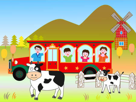 holstein: Bus travel with family Illustration