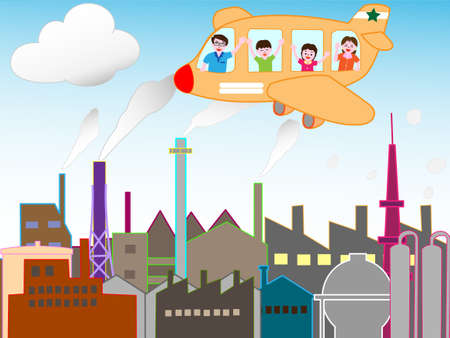 Planes fly over the industrial