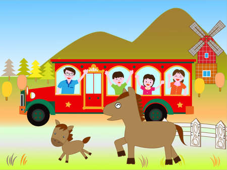 plateau: Bus travel in the family. Illustration