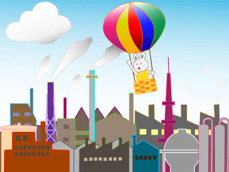 industrial complex: Balloons fly in industrial zone