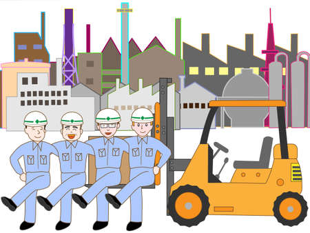 Workers in the industrial zone of exercise  イラスト・ベクター素材