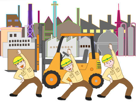 Workers in the industrial zone of exercise Illustration
