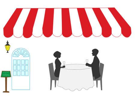 pareja comiendo: Cenar en el restaurante Vectores