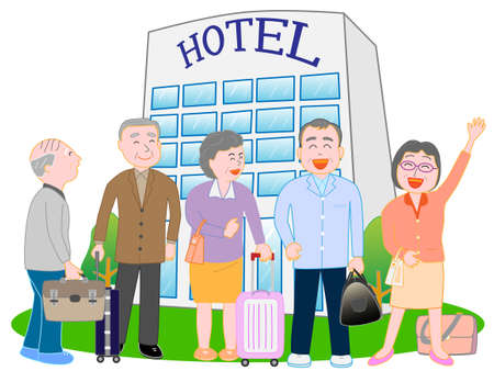 Vector of friends in front of hotel Illustration