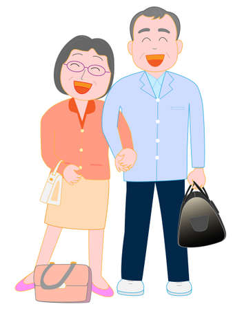Vector of elderly couple smiling Illustration