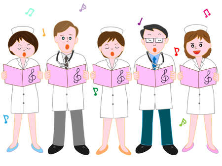Chorus of the hospital staff. Illustration