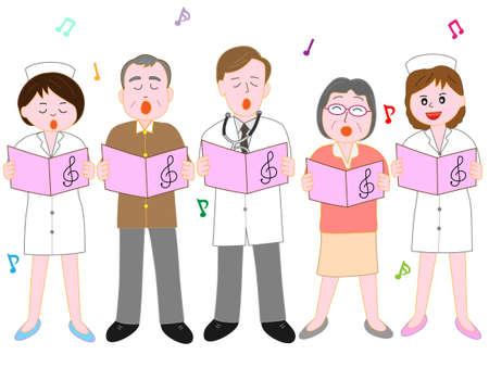 Chorus of the hospital staff. Illustration