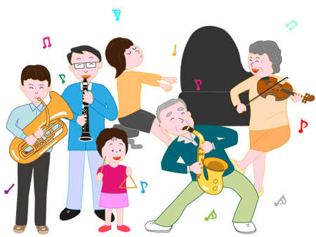 In a family concert. Illustration