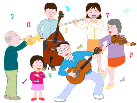 In a family concert. Vector illustration.