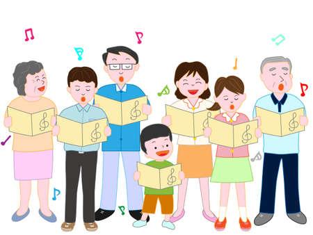 家族コーラス  イラスト・ベクター素材