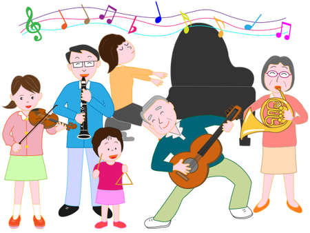 pastime: Family concert vector illustration.