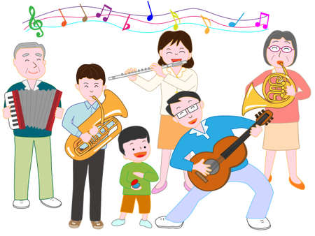In a family concert.  イラスト・ベクター素材